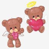 Sistema de osos de peluche lindos con los corazones y la caja de regalo para las tarjetas de felicitación y de scrapbooking para  Fotos de archivo libres de regalías