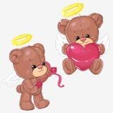 Sistema de osos de peluche lindos con los corazones y la flecha del cupido para las tarjetas de felicitación y de scrapbooking pa Imagenes de archivo