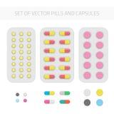 Sistema de píldoras y de cápsulas del vector stock de ilustración