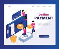 Sistema de pago en línea con donde la gente está tramitando concepto isométrico de las ilustraciones del dinero ilustración del vector