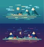 Sistema de paisajes conceptuales del diseño plano moderno