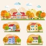 Sistema de paisajes planos del otoño del estilo Foto de archivo libre de regalías