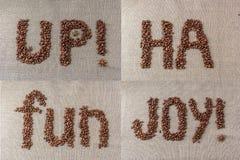Sistema de palabras de los granos de café Imagen de archivo