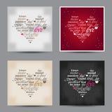 Sistema de palabras del diseño de la tipografía del día de San Valentín Fotografía de archivo