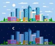 Sistema de panoramas amplios el paisaje urbano ilustración del vector