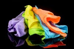 Sistema de paños coloridos de la microfibra Imágenes de archivo libres de regalías