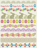 Sistema de papel de cordón con la flor huevos de Pascua libre illustration