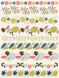 Sistema de papel de cordón con la flor y las hojas stock de ilustración