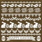 Sistema de papel de cordón con las flores y los huevos de Pascua ilustración del vector