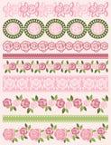 Sistema de papel de cordón con las rosas, vector libre illustration