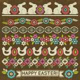 Sistema de papel de cordón con la flor y los huevos de Pascua, vector Imágenes de archivo libres de regalías