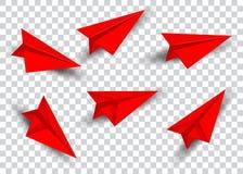Sistema de papel del avión en estilo plano rojo aislado Colección plana de la papiroflexia Avión del papel hecho a mano y avión d Foto de archivo