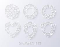 Sistema de papel elegante del logotipo de los iconos de los diamantes del estilo Ilustración del vector Fotos de archivo libres de regalías