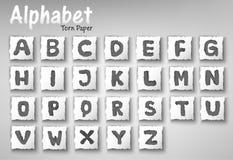 Sistema de papel rasgado letras del diseño del alfabeto Imagen de archivo libre de regalías