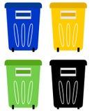 Sistema de papeleras de reciclaje coloridas Foto de archivo libre de regalías