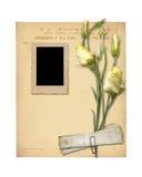 Sistema de papeles y de la postal archivales viejos del vintage con el ramo Foto de archivo