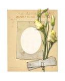Sistema de papeles y de la postal archivales viejos del vintage con el ramo Imagen de archivo libre de regalías