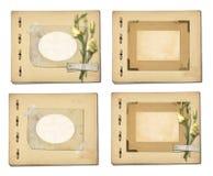 Sistema de papeles y de la postal archivales viejos del vintage con el ramo Imagenes de archivo