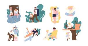 Sistema de pares adorables de padre y de hijo que pasan el tiempo junto - jugando, pescando, caminando, tomando el sol, árbol con ilustración del vector