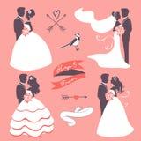 Sistema de pares elegantes de la boda en silueta Fotos de archivo libres de regalías