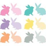 Sistema de Pascua Bunny Silhouette Foto de archivo libre de regalías
