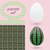 Sistema de Pascua con un ornamento de hojas verdes Imagen de archivo