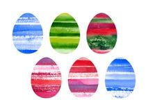 Sistema de Pascua de huevos coloreados acuarela Imágenes de archivo libres de regalías