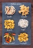 Sistema de pastas italianas tradicionales Fotografía de archivo libre de regalías