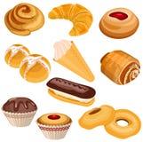 Sistema de pasteles aislado en blanco Imagen de archivo libre de regalías