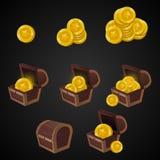 Sistema de pecho de madera para el interfaz del juego Ilustración tesoro de las monedas de oro en fondo oscuro: cerrado, vacío, c Imagen de archivo