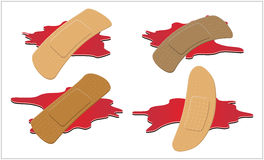 Sistema de pegamento, flexible, yeso de la tela con el charco rojo de la sangre Imagen de archivo