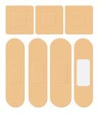 Sistema de pegamento, flexible, yeso de la tela Vendaje médico en diversa forma - derecho, cuadrado, rectangular Ilustración del  Foto de archivo libre de regalías