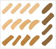 Sistema de pegamento, flexible, yeso de la tela Vendaje médico en diversa forma - rectangular curvada Vector o aislado ejemplo Imagenes de archivo