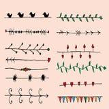 Sistema de Pen Drawing Seamless Borders Imagen de archivo libre de regalías
