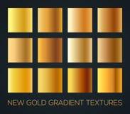 Sistema de pendientes del oro en el fondo oscuro, tamaño editable, ejemplo del vector Foto de archivo