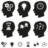 Sistema de pensamiento del vector de las cabezas Fotos de archivo libres de regalías