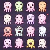 Sistema de pequeños emoticons lindos de los monstruos Imagen de archivo