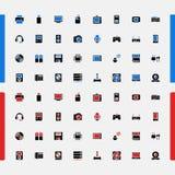 Sistema de pequeños iconos aparatos electrodomésticos Productos electrónicos de consumo Vector Imagenes de archivo