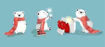 sistema de pequeños osos polares lindos con la bufanda y el regalo rojos en bacjground azul con el copo de nieve ilustración del vector