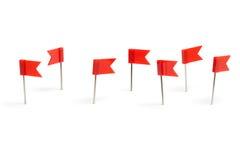 Pernos del empuje de la bandera roja Fotos de archivo libres de regalías