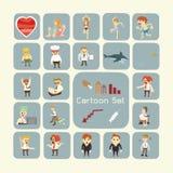 Sistema de personajes de dibujos animados Imagen de archivo libre de regalías