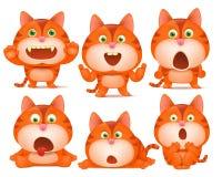 Sistema de personajes de dibujos animados anaranjados lindos del gato en diversas actitudes ilustración del vector