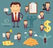 Sistema de personajes de dibujos animados del hombre de negocios Fotografía de archivo