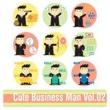 Sistema de personajes de dibujos animados del hombre de negocios Imágenes de archivo libres de regalías