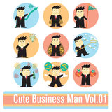 Sistema de personajes de dibujos animados del hombre de negocios Imagen de archivo libre de regalías