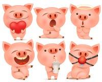 Sistema de personajes de dibujos animados lindos del cerdo en diversas actitudes ilustración del vector