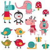 Sistema de personajes de dibujos animados sobre el fondo blanco Imagen de archivo libre de regalías