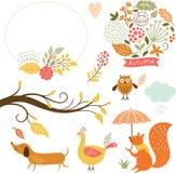 Sistema de personajes de dibujos animados y de elementos del otoño Imagen de archivo libre de regalías