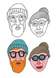 Sistema de personas mayores de los retratos Fotografía de archivo libre de regalías