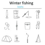 Sistema de pesca linear del invierno de los iconos del web Accesorios para pescar en el hielo foto de archivo
